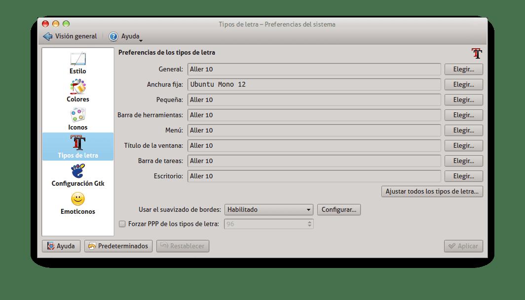 Fuentes en KDE