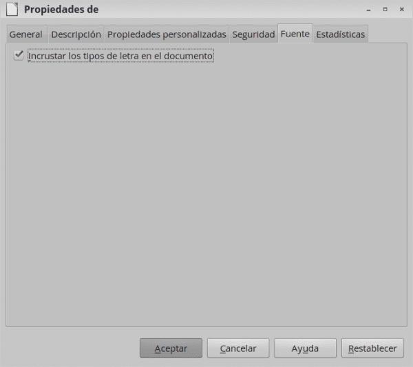 Incrustar tipos de letra en documentos de LibreOffice 4.1 y superior