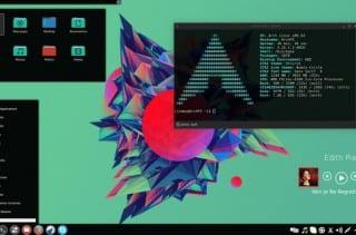 ArchLinux x86_64   Desktop: KDE 4.13  Theme Qtqurve: Hex  Plasma-KDE theme: Caledonia Colors: Hex.colors  Icons: Numix-circle + flattr  Wallpaper: Facets  Covergloobus: theme novatnews