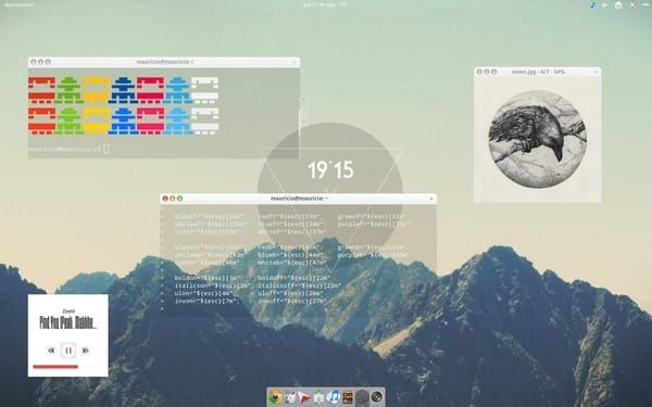 Elementary OS Luna. Nova for Covergloobus:Mod by me. Plank:Mod by me. Icons:Mix Conky:Mod by me.