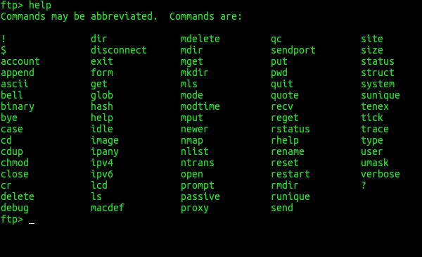 Conectarse y trabajar en un FTP mediante la terminal Ftp-help