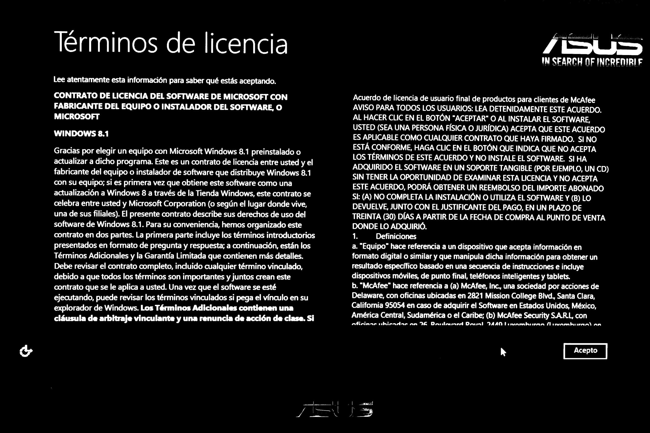 Licencia de Windows 8 en Asus